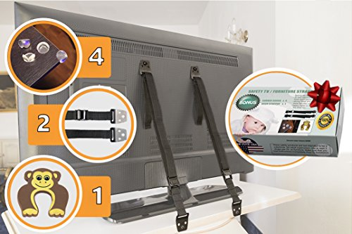 TV and furniture straps Anti-Tip, baby straps | 2 Safety Metal Anchor straps proof kit | Gift 4 corner furniture protection edge guards, 1 door stopper set - Safety Furniture Straps