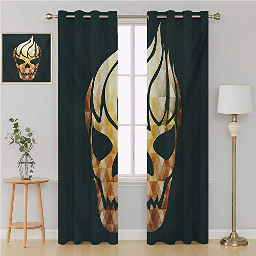Benmo House Modern Gromit Curtains Door Curtain blackoutGothic Skull with Fractal Effects in Fire Evil Halloween Conceptdoorway Curtain 84 by 96 InchYellow Pale Caramel Dark Grey -