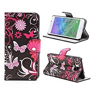 LCJ Black Butterflies Leather Cover with Stand and Card Slot for Samsung Galaxy Alpha G850F