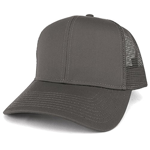 (Armycrew XXL Oversize High Crown Adjustable Plain Mesh Back Trucker Baseball Cap - Charcoal)