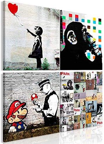artgeist Handart Canvas Wall Art Banksy 31.5″x31.5″ 4 pcs Painting Canvas Prints Picture Artwork Image Framed Contemporary Modern Photo Wall Home i-B-0057-b-a