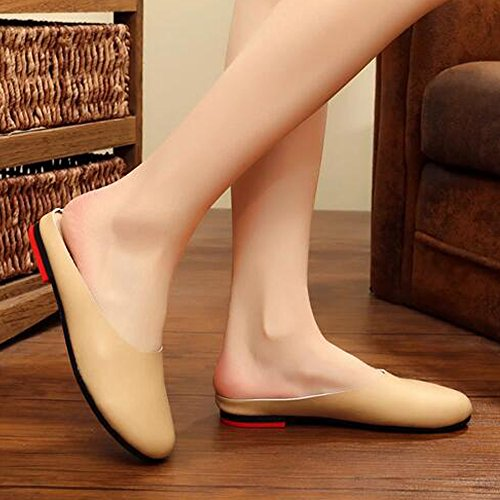 Off On Mule Slip SUNROLAN Slipper Backless Leather Shoes Scuff Outdoor Flats Casual Loafer Womens white IqqgCwO