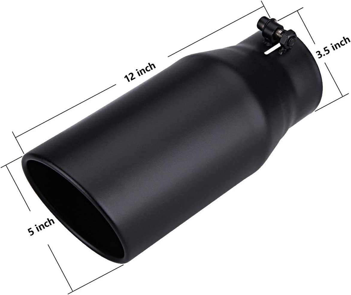 3 Inch Inlet 5 Inch Outlet Black Exhaust tip 12 Inch Overall Length Bolt On Design