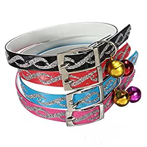 Pink Lizard Adjustable Pet Dog Cat Safety Collar With Reflective Necklet Bell