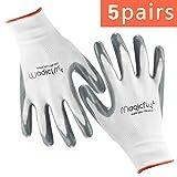 Garden Gloves Women 5 Pairs, Magicfly Machine Washable Premium Protective Gloves Flex Nitrile Coated Work Gloves, Breathable, Special Protective Coating Against Cuts. (Size: SmallX3, MediumX2)