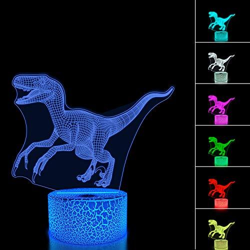 FULLOSUN 3D Night Light Jurassic Dinosaur Velociraptor Raptor LED Nightlight Baby Nursery Lamp for Kids' Room Xmas Birthday Gifts with Remote Control 16 Color Changing