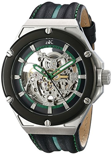 Adee Kaye Men's AK2240-M/GN Le Gear Analog Display Automatic Self Wind Green Watch