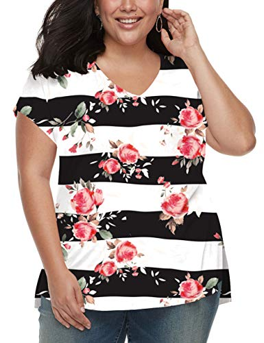 Womens Plus Size Shirts Striped Floral Tops Tees Loose Casual Summer Blouses Rose XL