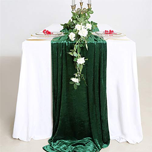 B-COOL Green Silky Table Runner 29x120 Inches Elegant Velvet Table Runner Wedding Tablecloth Decor Christmas Table Runner Party Table Runner (Green Velvet Tablecloth)