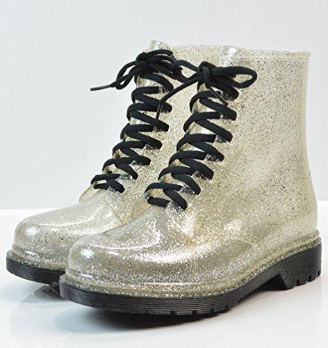 LvRao Mujeres Boots Tacones Altos Impermeable de Nieve Lluvia Zapatos Botas Cortas de Jardín de las Señoras Plata