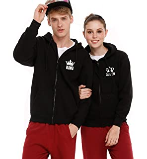 King Queen Matching Couples Hoodies Sweatshirts Zip Up His and Her Hooded Thin