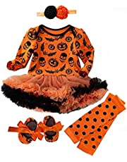 4 Pcs Baby Girls Halloween Costume Clothes Romper Tutu Dresses Newborn Girl Pumpkin Bat Outfits for Infant 0-18 Months