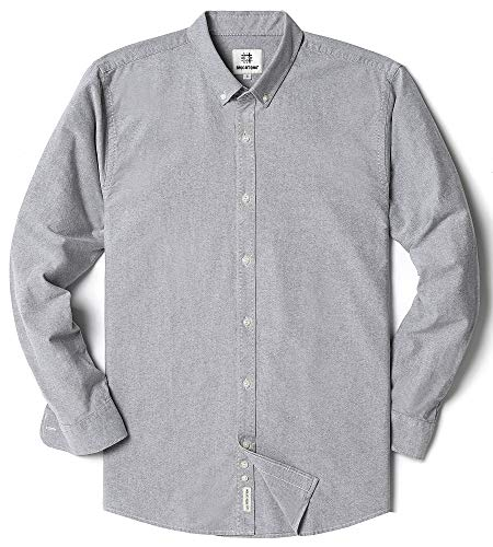 Men's Oxford Long Sleeve Button Down Casual Dress Shirt,Light Gray,Large ()