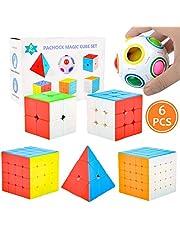 Pachock 6 Pack Magic Cube Zauberwürfel Set, Speed Cube Würfel Pyramide Speed Cube Magic Puzzle Ball Party Puzzle Spielzeug Konzentration und Gehirn Training für Kinder Erwachsene