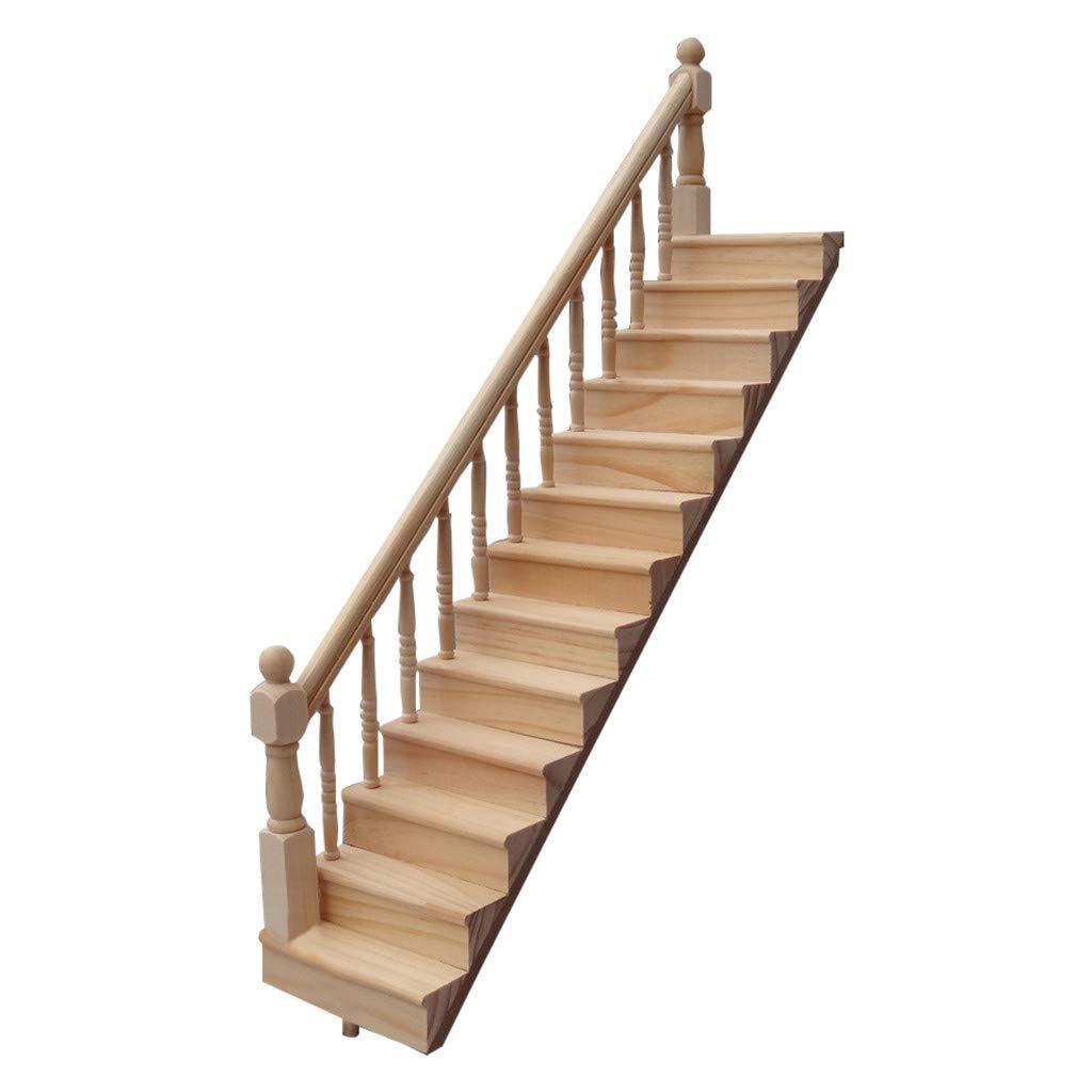 SGYH 1:12 Dollhouse Furniture Miniature Wooden Stairway DIY Villa Model Accessories Scene Handrail Stairs Mini House Decoration Accessories (Left-Hand Stairway)