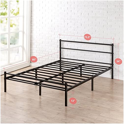 Zinus Geraldine 12 inch Black Metal Platform Bed Frame with Headboard and Footboard / Premium Steel Slat Support…