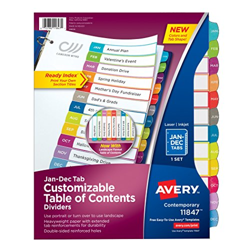 Avery Customizable Table of Contents Dividers, Jan- Dec Tabs (11847)