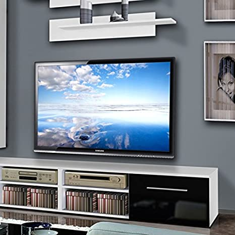 Paris Prix – Mueble TV pared invento V 240 cm negro & blanco: Amazon.es: Hogar