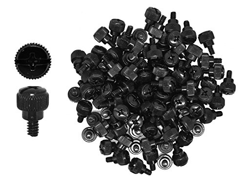 Mudra Crafts Desktop PC Computer Building Case 6-32 Repair Mounting Thumb Screw Assortment Kit, 100 PCs (Black)