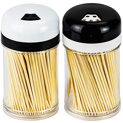DecorRack 2 Toothpick Dispensers with 400 Natural Wood Toothpicks for Teeth Cleaning, Holding Small Appetizers…