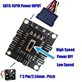 OLEY Computer CPU fan Controller Board Supports Connect 8 Ways 3 pin DC 12V Computer Mainboard Replacement Parts Fan Temperature Adapter Power from SATA 15-Pin Connector