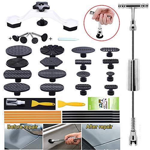 Yoohe Paintless Dent Repair Kit - Slide Hammer T bar Dent Puller Kit Bridge Puller and Pulling Tabs for Car Dent Removal and Hail Damage