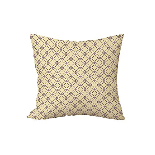 iPrint Polyester Throw Pillow Cushion,Geometric,Ethnic Inspirations Intertwined Circles Geometric Vintage Elements Decorative,Pale Yellow Mauve Lilac,17.7x17.7Inches,for Sofa Bedroom Car Decorate
