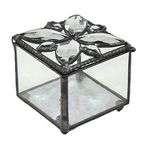 J Devlin Box 711 Crystal Jeweled Glass Box Decorative Jewelry Keepsake Gift Vanity Display Trinket Box