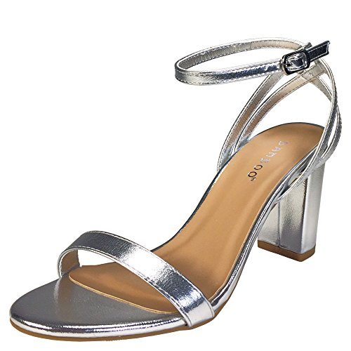 BAMBOO Women's Single Band Mid Chunky Heel Sandal with Double Counter Strap, Silver PU, 11.0 B (M) US