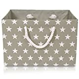 Foldable Grey Star Canvas Storage Basket - High Quality Rectangle Fabric Basket with White Stars – Perfect for Household Storage, Fabrics or Toys. Size: Width 42cms x Depth 32cms x Height 28cms