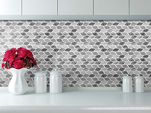 Tic Tac Tiles - Premium Anti Mold Peel and Stick Wall Tile Backsplash in Foglia Design (Grigio, 6) by Tic Tac Tiles (Image #5)