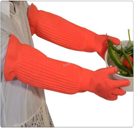 HeWan Guanto per Silicone-4 Paia//Set L Guanti di Gomma Extra Lunghi Impermeabili Guanti di Lattice Guanti di Gomma
