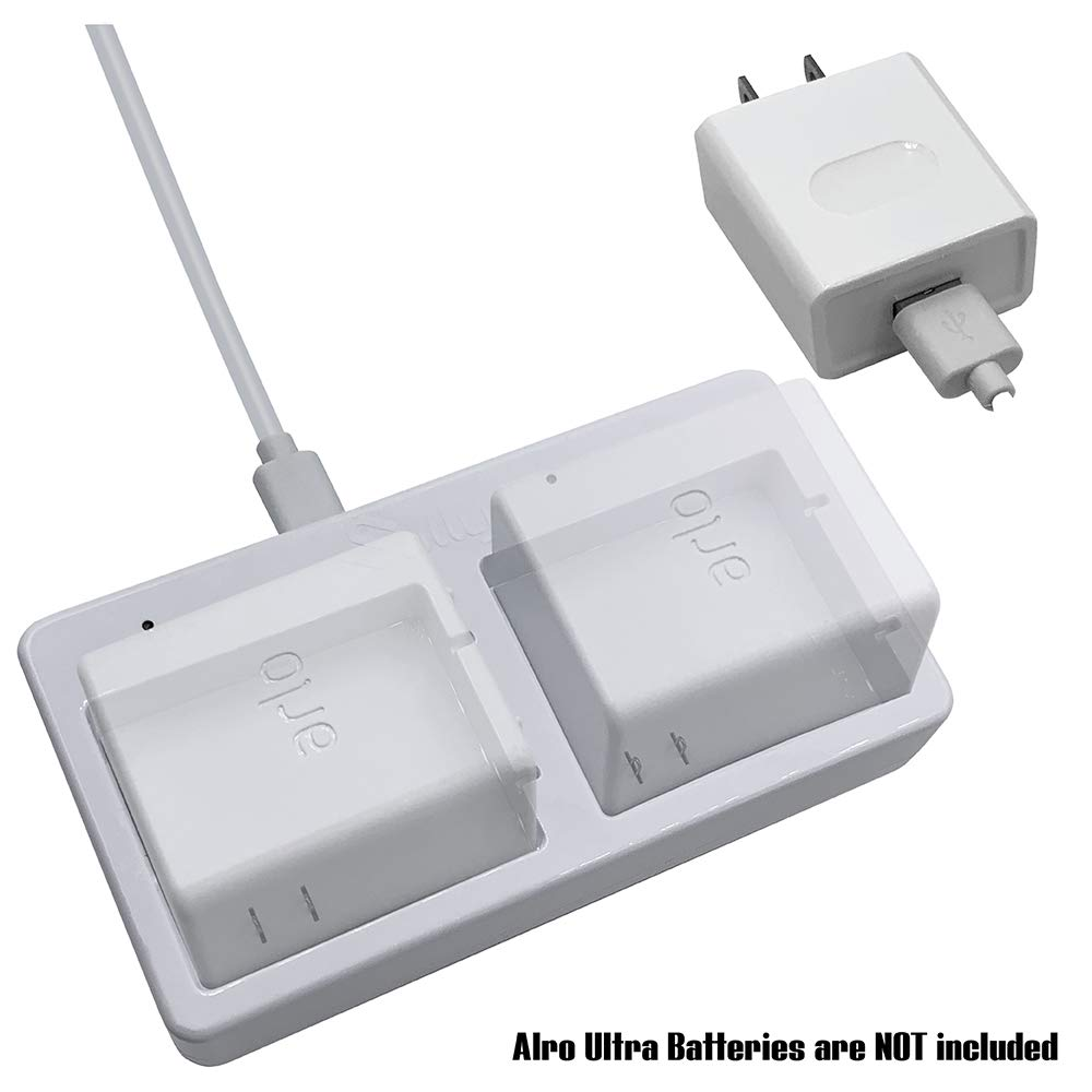 Battery Charger Station for Arlo Ultra 4k (White) - Dual Charging Station (2 Ports) - Charger for Arlo Ultra 4K Battery Only - Battery Security Camera Charger for Arlo Ultra - VMA5400C - by Sully