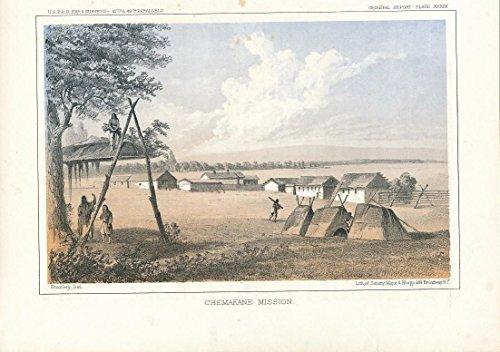 Chemakane Mission Spokane Washington c.1860 fine antique color exploration print
