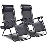 Goplus 2PC Zero Gravity Chairs Lounge Patio Folding Recliner Outdoor Yard Beach with Cup Holder (Black) For Sale