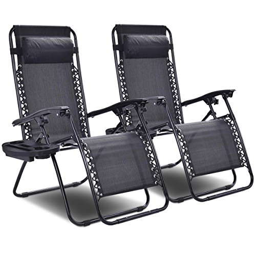 Living Room Set Folding Chair - Goplus 2PC Zero Gravity Chairs Lounge Patio Folding Recliner Outdoor Yard Beach With Cup Holder (Black)