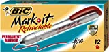 BIC Mark-It Retractable Permanent Marker, Fine Point, Red, 12 Markers, Office Central