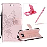 Strap Leather Case for Samsung Galaxy S7 Edge,Wallet Flip Case for Samsung Galaxy S7 Edge,Herzzer Bookstyle Stylish Brilliant Rose Gold Butterfly Sunflower Ants Pattern Stand Magnetic Smart Leather Case with Soft Inner for Samsung Galaxy S7 Edge + 1 x Free Pink Cellphone Kickstand + 1 x Free Pink Stylus Pen