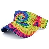 Trendy Apparel Shop Hippy Tie Dye Printed Colorful Cool Summer Visor Cap - Fluorescent