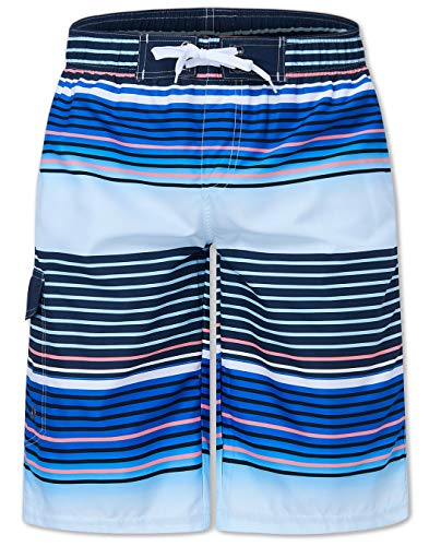 Guys 90s Classic Beachwear 36 Boardshorts Summer Holiday Blue Stripe Straight Swim Trunks Elastic Waistband Hawaiian Cargo Shorts Casual Surf Yoga Water Jogging Training for Teenager Male