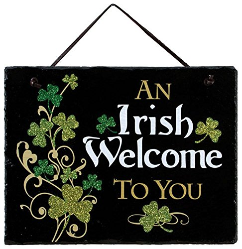 Irish Welcome Slate Wall Sign 8 x 10in - Black Slate Welcome Sign