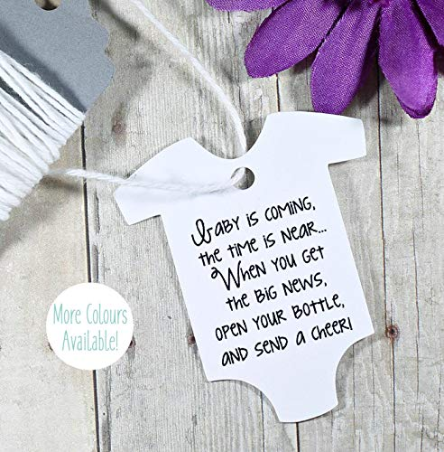 Baby Is Coming Shower Favor Tags - White One Piece Shaped Gift Tags (Set of 20)