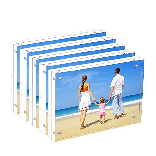 Acrylic Picture Frame 5x7, Double Sided Magnetic Photo Frames 20% Thicker Blcoks, Frameless Desktop Display Retail Gift Box Package (0.95inch, 5 Pack)