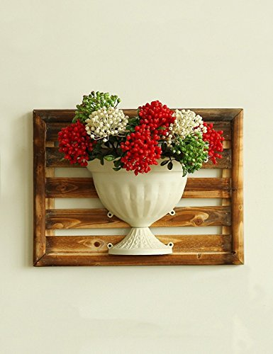 HOMEE Flower Rack Creative Iron Flower Racks Living Room Balcony Wooden Vase the Walls of the Decorations --Home Environment Decorations by HOMEE