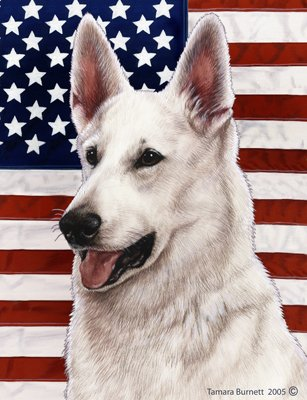 Best of Breed German Shepherd White Patriotic II Garden Flags