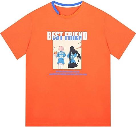 Niche Camiseta Naranja de algodón de Manga Corta Mujer Suelta Camisa de algodón de Moda de Color Naranja Verano: Amazon.es: Ropa y accesorios