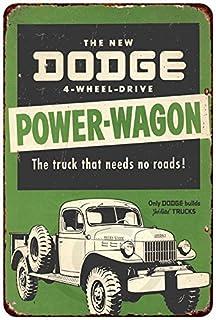 "Look 12/"" Round Tin Sign Vintage Dodge Cars /& Trucks Dependable Service Retro"