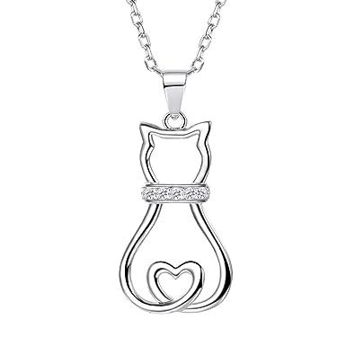 Collar de Plata Ley 925 para Mujer Diseño de Gato Sentando con Cadena Rolo Fina 51cm Ajustable con Caja de Regalo: Amazon.es: Joyería