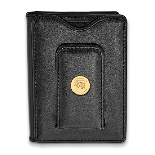 South Carolina Black Leather (Solid 925 Sterling Silver with Gold-Toned University of South Carolina Black Leather Wal)