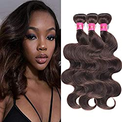 Fashion Lady Hair Brazilian Body Wave Weave Wefts Hair 3 Bundles Brazilian Virgin Remy Human Hair Extensions Deal With Mixed Lengths 10-24 Inch 100g/Bundle (14 16 18,Dark Brown #2)